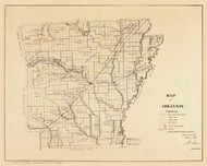 Arkansas 1866 GLO - Old State Map Reprint