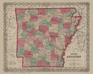 Arkansas 1869 Colton - Old State Map Reprint