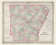 Arkansas 1874 Colton - Old State Map Reprint