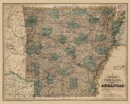 Arkansas 1887 Colton - Old State Map Reprint