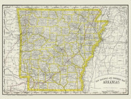 Arkansas 1889 Rand - Old State Map Reprint
