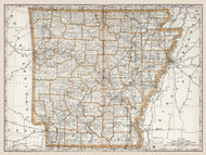Arkansas 1890 Rand - Old State Map Reprint