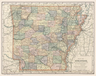 Arkansas 1891 Matthews-Northrup - Old State Map Reprint