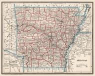Arkansas 1893 Cram - Old State Map Reprint