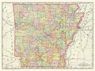 Arkansas 1897 Rand - Old State Map Reprint