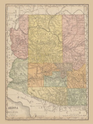 Arizona 1884 Rand - Old State Map Reprint