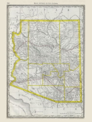 Arizona 1889 Rand - Old State Map Reprint