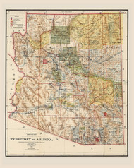 Arizona 1901 GLO - Old State Map Reprint