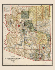 Arizona 1902 GLO - Old State Map Reprint