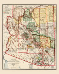 Arizona 1906 GLO - Old State Map Reprint