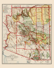 Arizona 1909 Rand - Old State Map Reprint