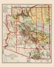 Arizona 1909 Rand - Old State Map Reprint