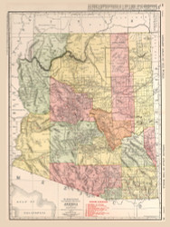 Arizona 1912 Rand - Old State Map Reprint