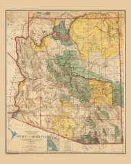 Arizona 1921 GLO - Old State Map Reprint