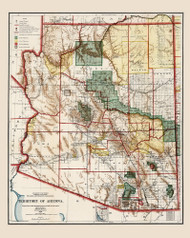 Arizona 1903 GLO - Old State Map Reprint