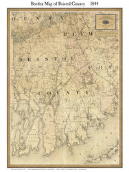 Bristol County Massachusetts 1844 - Old Map Custom Print - Borden MA Counties Other