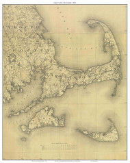 Cape Cod & Islands - Barnstable, Dukes, & Nantucket County Massachusetts 1844 - Old Map Custom Print - Borden MA Counties Other