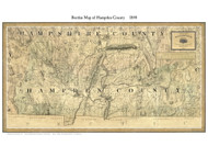 Hampden County Massachusetts 1844 - Old Map Custom Print - Borden MA Counties Other