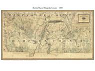 Hampden County Massachusetts 1844 - Old Map Custom Print - Borden MA Counties Other