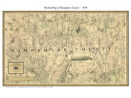 Hampshire County Massachusetts 1844 - Old Map Custom Print - Borden MA Counties Other