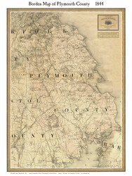 Plymouth County Massachusetts 1844 - Old Map Custom Print - Borden MA Counties Other