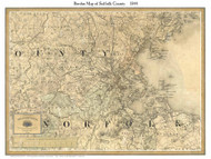 Suffolk County Massachusetts 1844 - Old Map Custom Print - Borden MA Counties Other