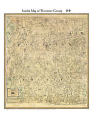 Worcester County Massachusetts 1844 - Old Map Custom Print - Borden MA Counties Other