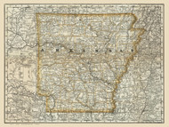 Arkansas 1879 Rand - Old State Map Reprint