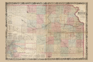 Kansas 1867 W.J. Keeler - Old State Map Reprint