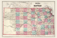 Kansas 1873 Gray - Old State Map Reprint