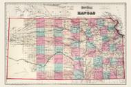 Kansas 1873 Gray - Old State Map Reprint