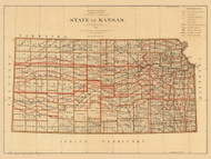 Kansas 1876 GLO - Old State Map Reprint
