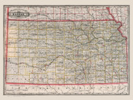 Kansas 1885 Cram - Old State Map Reprint