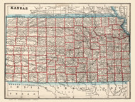 Kansas 1893 Cram - Old State Map Reprint
