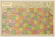 Kansas 1909 Cram - Old State Map Reprint