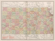 Kansas 1912 Rand - Old State Map Reprint