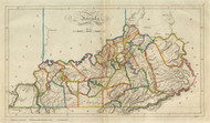 Kentucky 1814 Carey - Old State Map Reprint