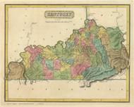 Kentucky 1816 Lucas - Old State Map Reprint