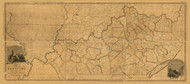 Kentucky 1818 A Munsell - Old State Map Reprint