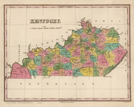 Kentucky 1824 Finley - Old State Map Reprint