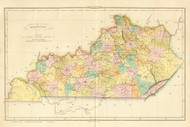 Kentucky 1825 Carey French (Map Only) - Old State Map Reprint