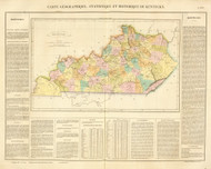 Kentucky 1825 Carey French (Map with Text) - Old State Map Reprint