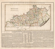 Kentucky 1829 Weiland German (Map with Text) - Old State Map Reprint