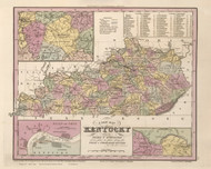 Kentucky 1833 Tanner - Old State Map Reprint