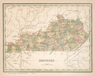 Kentucky 1838 Bradford - Old State Map Reprint