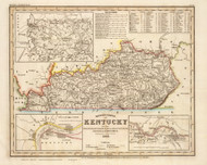 Kentucky 1845 Meyer German - Old State Map Reprint