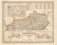 Kentucky 1845 Meyer German - Old State Map Reprint