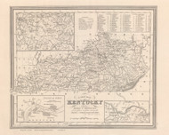 Kentucky 1848 Tanner - Old State Map Reprint