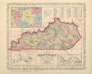 Kentucky 1859 Mitchell - Old State Map Reprint