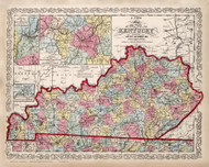 Kentucky 1862 Mitchell - Old State Map Reprint
